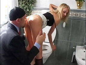 Slutty young asian girl buggered in the toilet