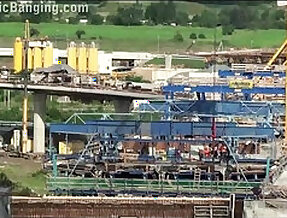 Cute cam girl exposed in public construction site public threesome gang bang