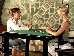 Geena and Britta play poker and then with toys on Sapphic Erotica