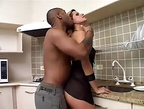 Dont leave your wife all alone sexy girl strips and masturbates with big butt black man