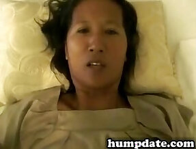 Asian wife playing around with a hairy wet pussy and gets fucked