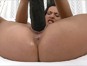 Raven haired slut gaped her pussy fucked hard with dildos