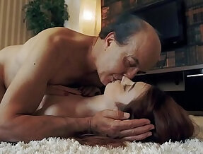 Innocent Teen Swallows and Spits cum after Romantic Sex with Grandpa