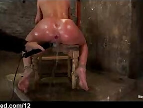 Bound babe to a chair with perfect ass toyed and squirts