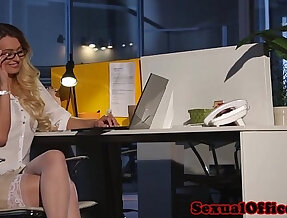 Busty office babe in stockings gets cum on tits after sex