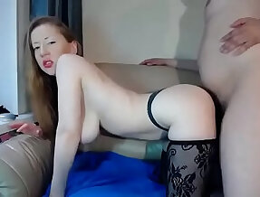 Girl sucks and fucks her pussy with the big boobs in stockings gets fucked Watch live at xxxrocke