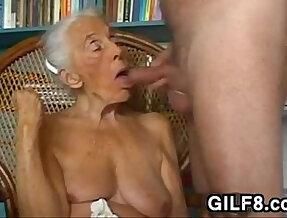 Naughty Grandma Giving Blowjob At Home