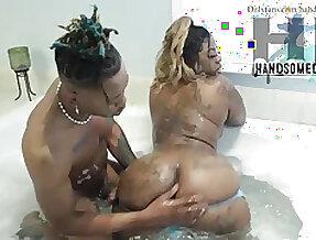 Ebony stepmom young stepson in bath