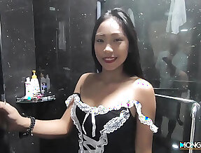 Sexy Filipina maid shows striptease regarding the shower