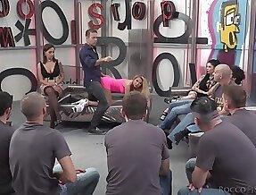 Unsightly sluts Joanna Bujoli and Eveline Dellai fucked involving an orgy