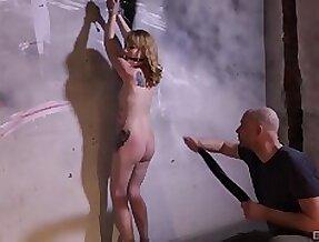 Tied up mart Elektra Angels moans alien appreciation during BDSM torture