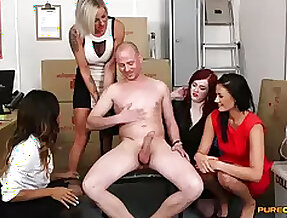 Supplicant far a huge dick gets pleasured by four of cock hungry models