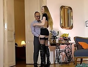 Teen tugs old man for cum clip