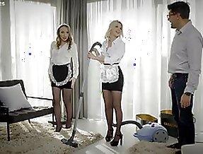 Morning FFM threesome with beautiful maids Lina Mercury and Olivia Sin