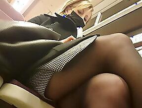 Milf in black pantyhose